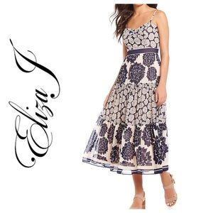 Eliza J Chiffon Multi Floral Print Midi Dress